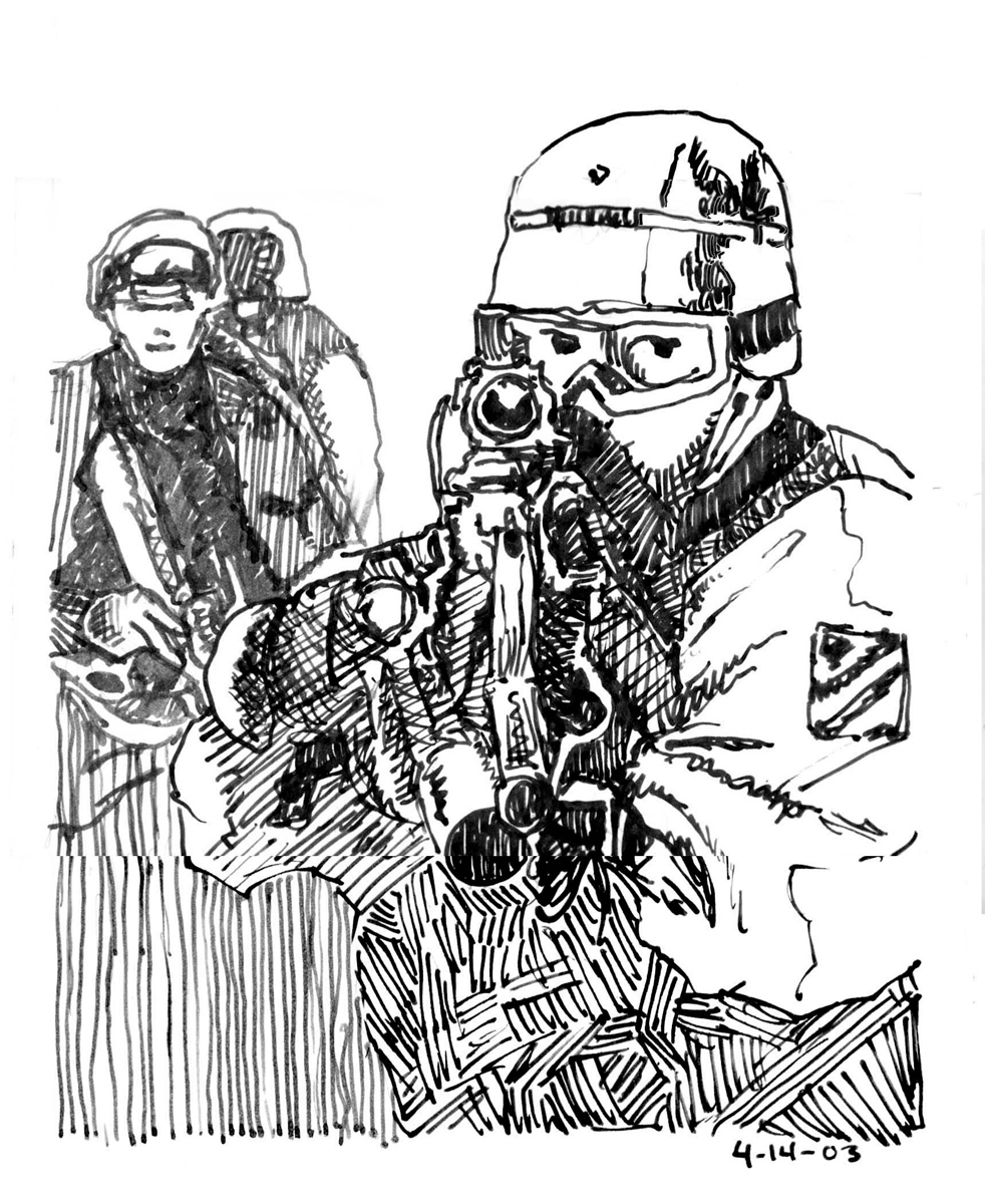 Soldier with Gun, Ink on Paper, illustrated by Mark Lerer.