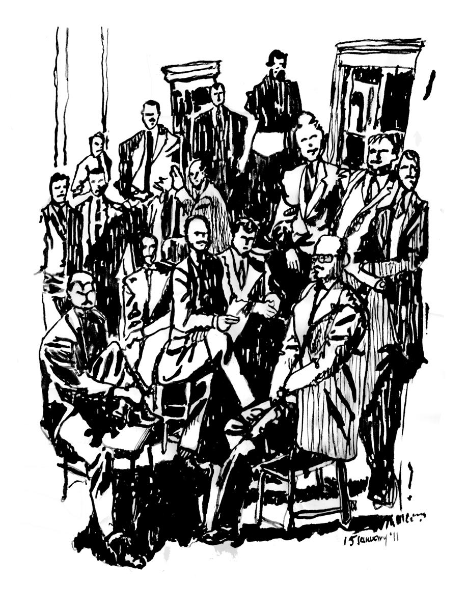 The Irascibles, Ink on Paper, illustrated by Mark Lerer.