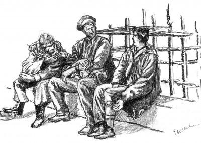 Three Men - drawing by Mark Lerer