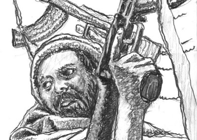 Gunman, drawing by Mark Lerer
