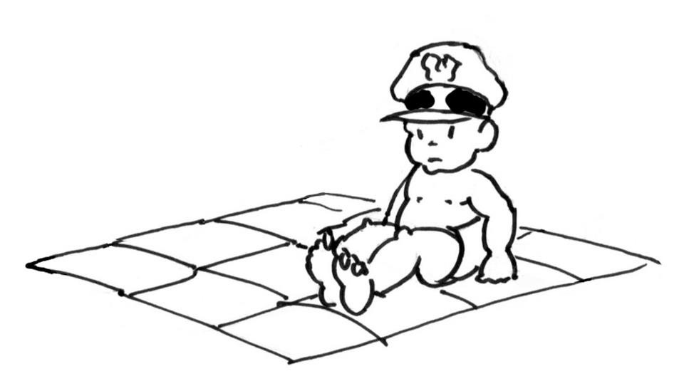 Our baby general looks up from his map and realizes he will never be a great conqueror. - Little General by Mark Lerer