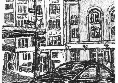 Street Corner with Car - New York City drawing by Mark Lerer