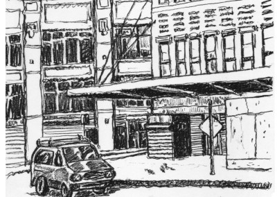 Street Corner with Pigeon - New York City drawing by Mark Lerer