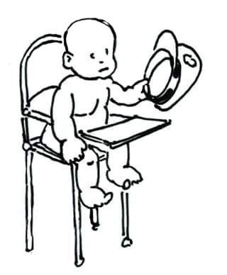 Our baby general leads an important conference from his high chair. - Mark Lerer