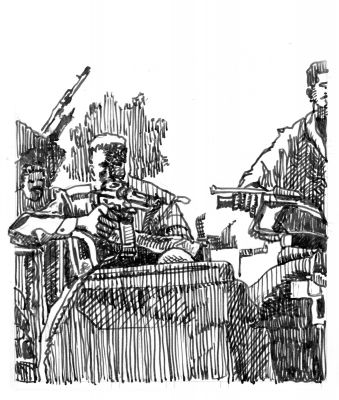 Gunman On Vehicle, Ink on Paper, illustrated by Mark Lerer.