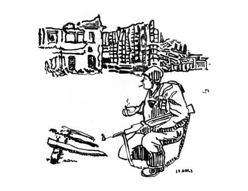 Lonely Soldier, Ink on Paper, illustrated by Mark Lerer