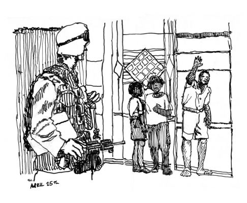 Soldier with Kids, Ink on Paper, illustrated by Mark Lerer.