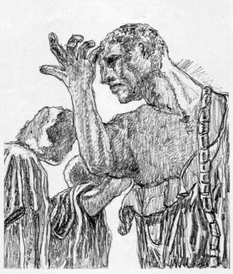 Three Burghers - drawing by Mark Lerer