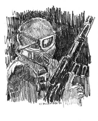 Soldier with Mask - drawing by Mark Lerer