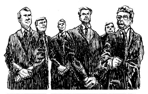 The Bankers, Ink on Paper, illustrated by Mark Lerer.
