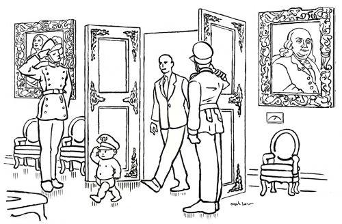 Little General Begins His Day Cartoon by Mark Lerer