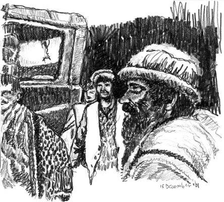 Men Near a Truck - drawing by Mark Lerer