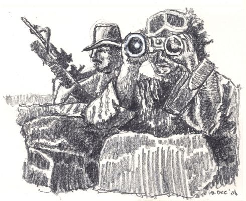 Lookouts - drawing by Mark Lerer