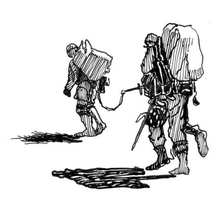 Soldiers Walking Away, Ink on Paper, illustrated by Mark Lerer