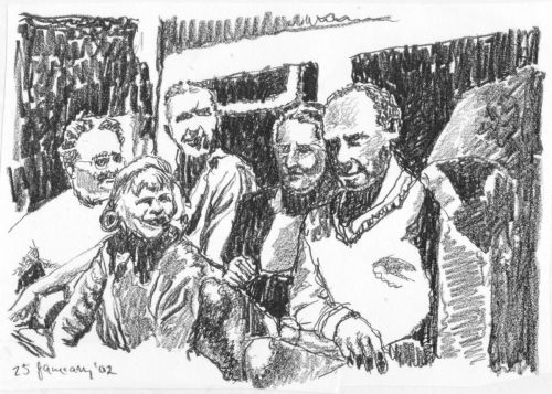 Harpo Marx and Friends - drawing by Mark Lerer