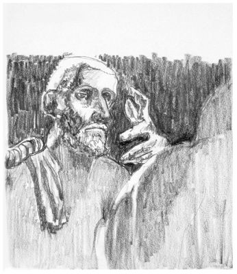 The Pondering Burgher - drawing by Mark Lerer