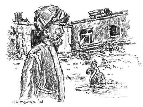 Afghani Man and Kid - drawing by Mark Lerer