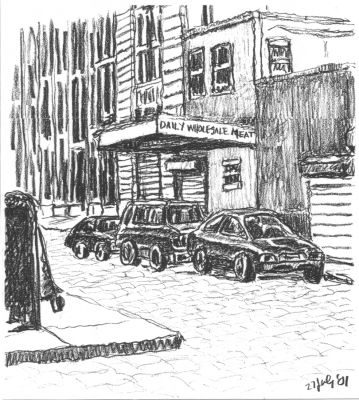 Wholesale Meat - New York City drawing by Mark Lerer