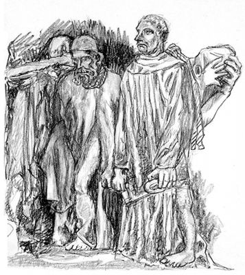 The Burghers of Calais - drawing by Mark Lerer