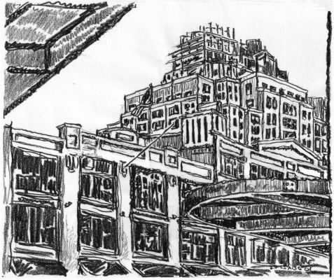 Buildings - New York City drawing by Mark Lerer
