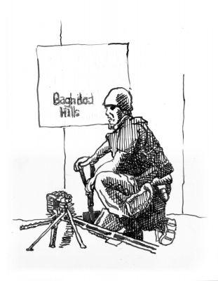 Baghdad Hills, Ink on Paper, illustrated by Mark Lerer.