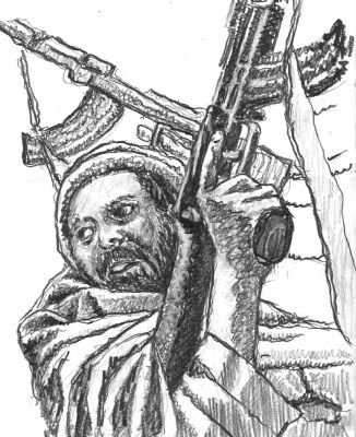 Gunman - drawing by Mark Lerer