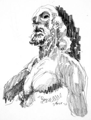 John The Baptist - drawing by Mark Lerer
