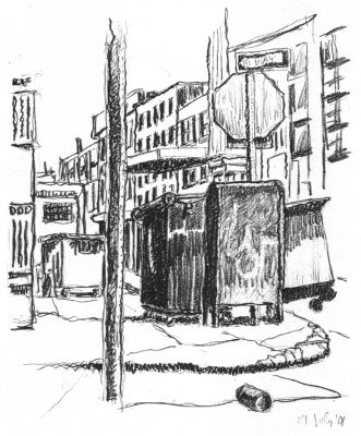 Dumpsters - New York City drawing by Mark Lerer