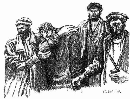 Four Men - drawing by Mark Lerer