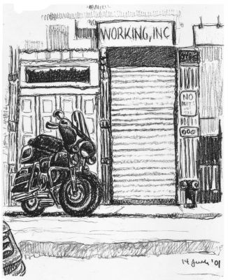 Motorcycle - New York City drawing by Mark Lerer