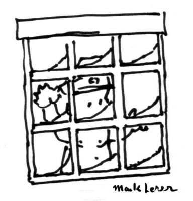Our baby general watches the blizzard from inside where it's safe and warm. - Little General by Mark Lerer